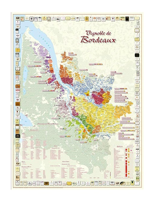 Wine map Vineyard of Bordeaux