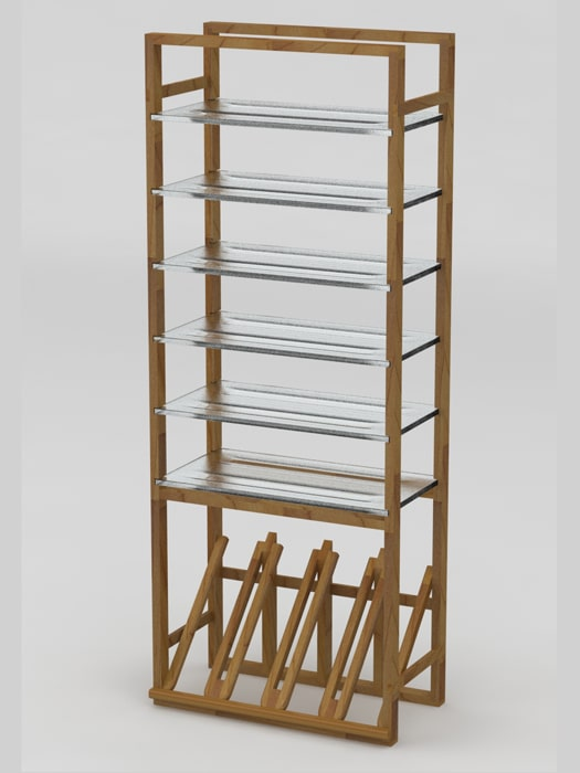 Classic Indy Bottle rack with glass shelves
