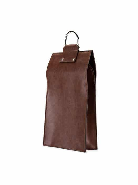 Brown double bottle wine tote